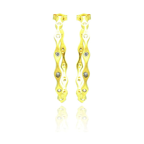 .925 Sterling Silver  Gold Rhodium Plated  Round Clear Cubic Zirconia Hoop Earring - AnaDx Collection