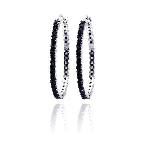 .925 Sterling Silver Black &  Silver Rhodium Plated Cubic Zirconia Dangling Earring - AnaDx Collection