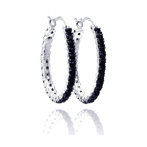 .925 Sterling Silver Black &  Silver Rhodium Plated  Cubic Zirconia Hoop Earring - AnaDx Collection