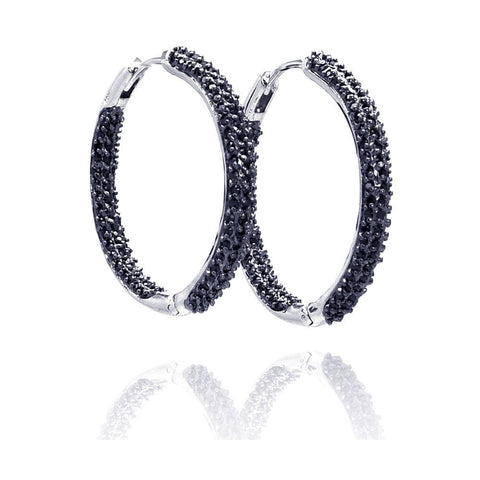 .925 Sterling Silver Black Rhodium Plated  Cubic Zirconia Hoop Earring - AnaDx Collection