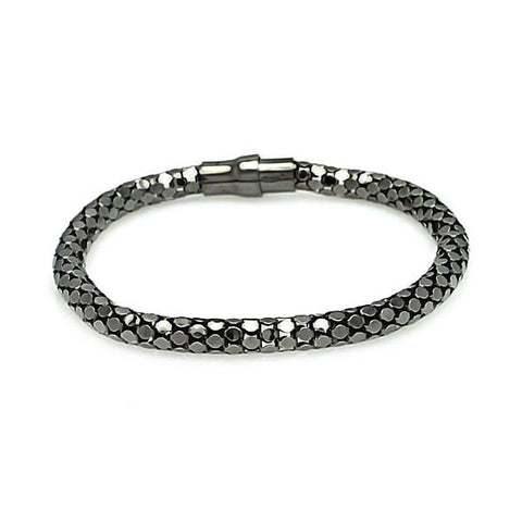 .925 Sterling Silver Black Rhodium Plated Snake Scale Italian Bracelet - AnaDx Collection
