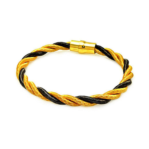 .925 Sterling Silver Black Rhodium &  Gold Plated Twist Rope Italian Bracelet - AnaDx Collection