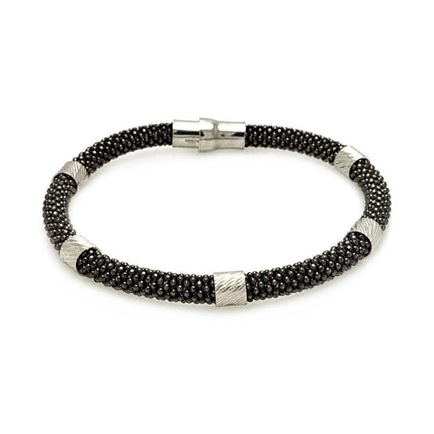 .925 Sterling Silver Black Rhodium Plated Beaded Magnet Italian Bracelet - AnaDx Collection