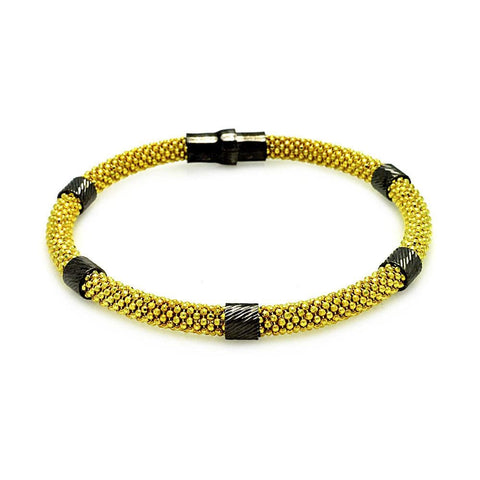 .925 Sterling Silver Black Rhodium &  Gold Plated Beaded Magnet Italian Bracelet - AnaDx Collection