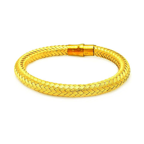 .925 Sterling Silver Gold Plated Weaved Italian Bracelet: SOD