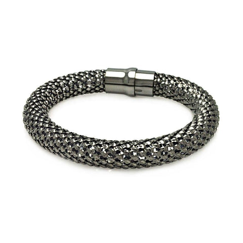 .925 Sterling Silver Black Rhodium Plated Thick Beaded Italian Bracelet - AnaDx Collection