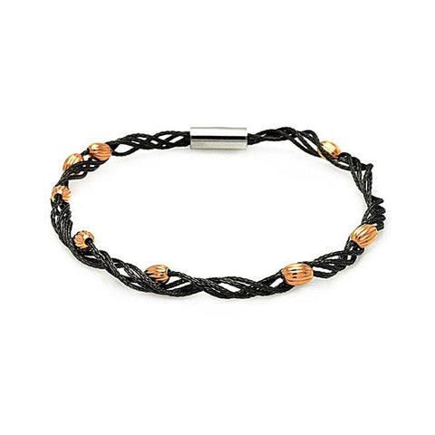 .925 Sterling Silver Black Rhodium &  Rose Gold Plated Beaded Twist Italian Bracelet - AnaDx Collection