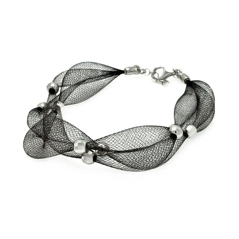.925 Sterling Silver Black Rhodium Plated 3 Row Mesh Net Silver Bead Italian Bracelet - AnaDx Collection