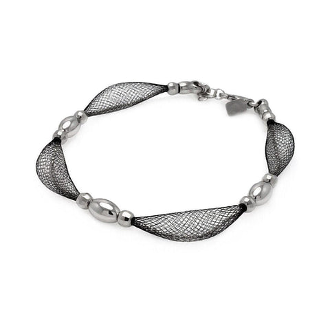 .925 Sterling Silver Black Rhodium Plated Mesh Net Silver Bead Italian Bracelet - AnaDx Collection
