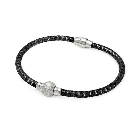 .925 Sterling Silver Black Rhodium Plated Sterling Silver Bead Italian Bracelet - AnaDx Collection
