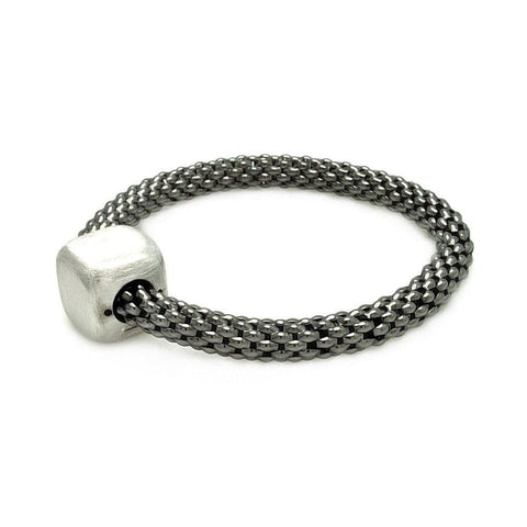 .925 Sterling Silver Black Rhodium Plated Square Matte Finish Bead Italian Bracelet - AnaDx Collection