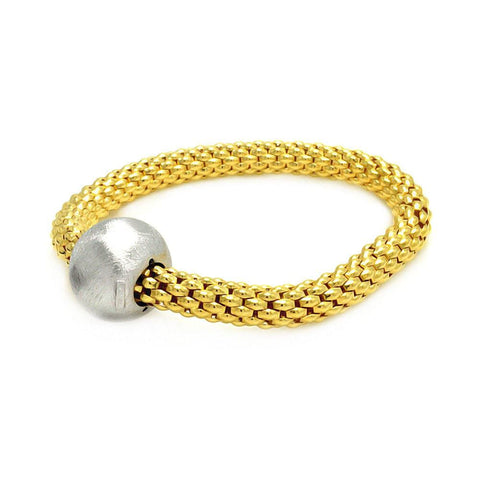.925 Sterling Silver Gold Plated Round Matte Finish Bead Italian Bracelet: SOD