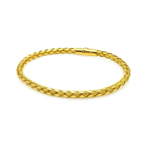 .925 Sterling Silver Gold Plated Italian Weave Design Bracelet: SOD