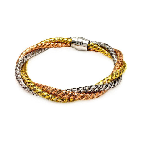.925 Sterling Silver Gold &  Rose Gold &  Black Rhodium Plated Italian Braided Bracelet - AnaDx Collection