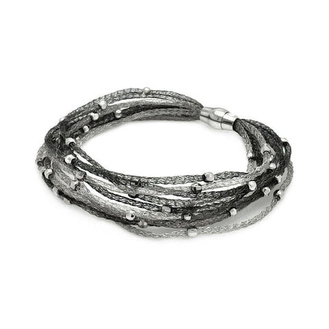 .925 Sterling Silver Black &  Rhodium Plated Italian Bead Mesh Bracelet - AnaDx Collection