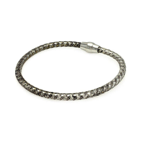 .925 Sterling Silver Black Rhodium Plated Italian Weave Bracelet - AnaDx Collection