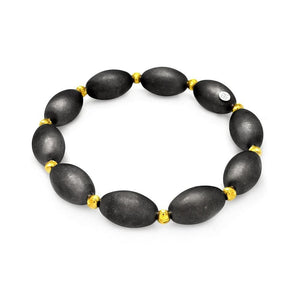 .925 Sterling Silver Black &  Gold Rhodium Plated Bead Italian Bracelet - AnaDx Collection