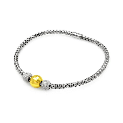 .925 Sterling Silver Gold &  Rhodium Plated Italian Past Present Future Bead Bracelet - AnaDx Collection