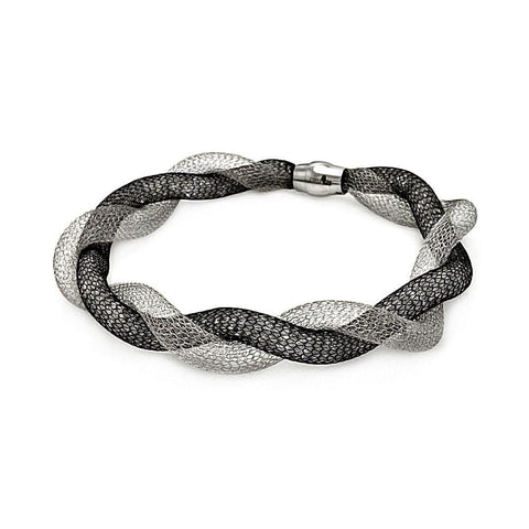 .925 Sterling Silver Black &  Rhodium Plated Italian Net Bracelet - AnaDx Collection