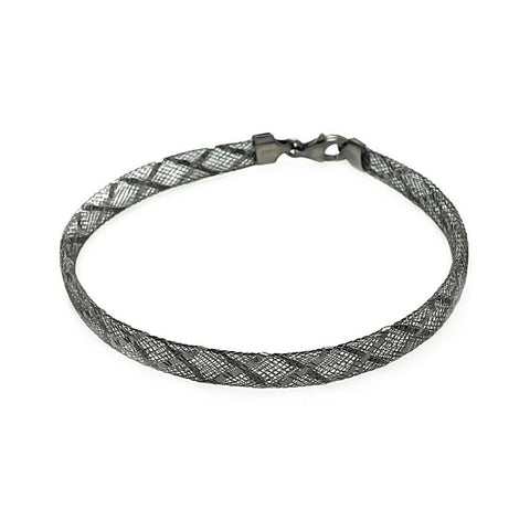 .925 Sterling Silver Black Rhodium Plated Crisscross Net Italian Bracelet - AnaDx Collection