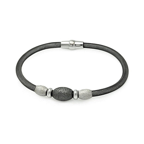 .925 Sterling Silver Black Rhodium Plated 3 Shiny Beads Italian Bracelet - AnaDx Collection