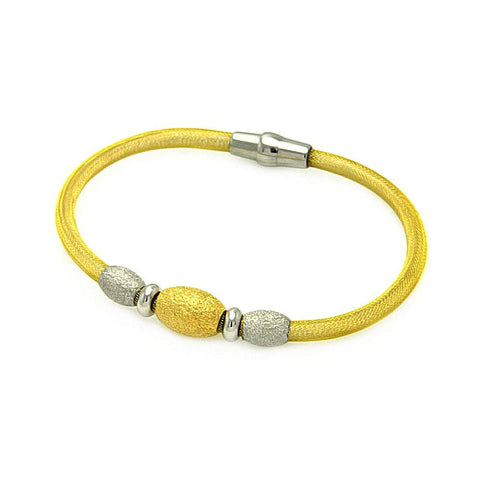 .925 Sterling Silver Gold Plated 3 Shiny Beads Italian Bracelet: SOD