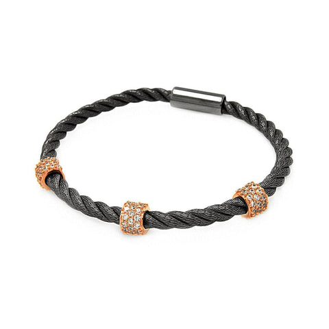 .925 Sterling Silver Black Rhodium &  Rose Gold Plated Clear Cubic Zirconia Rope Italian Bracelet - AnaDx Collection