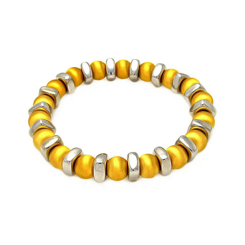 .925 Sterling Silver Gold Plated Stretchable Bead Italian Bracelet: SOD