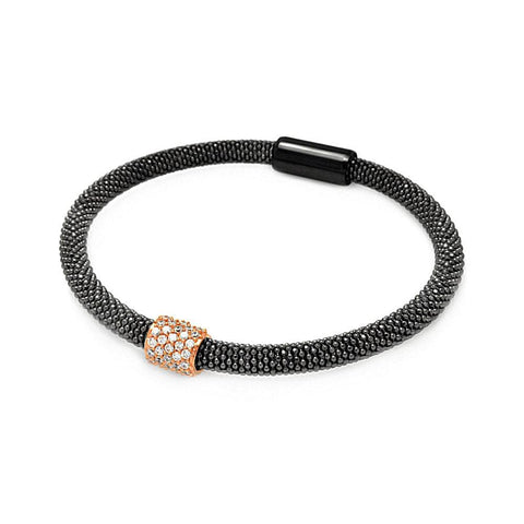 .925 Sterling Silver Black Rhodium &  Rose Gold Plated Bar Clear Cubic Zirconia Beaded Italian Bracelet - AnaDx Collection