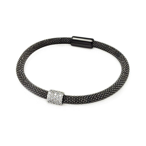 .925 Sterling Silver Black Rhodium &  Rhodium Plated Bar Clear Cubic Zirconia Beaded Italian Bracelet - AnaDx Collection