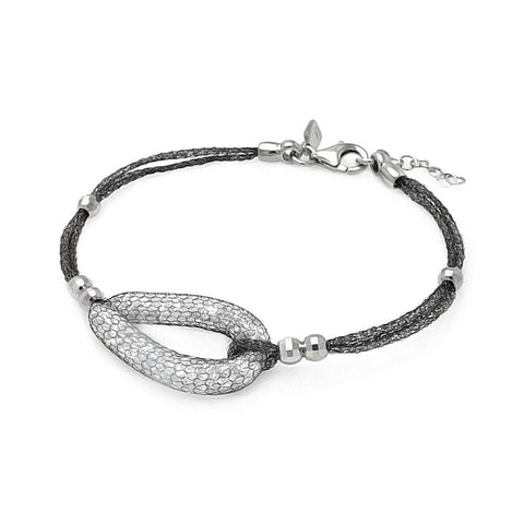 .925 Sterling Silver Black Rhodium Plated Teardrop Net Clear Cubic Zirconia Italian Bracelet - AnaDx Collection
