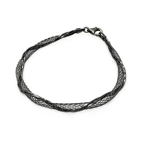 .925 Sterling Silver Black Rhodium Plated Net Wrap Italian Bracelet - AnaDx Collection