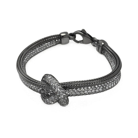 .925 Sterling Silver Black Rhodium Plated 2 Strand Knot Italian Bracelet - AnaDx Collection