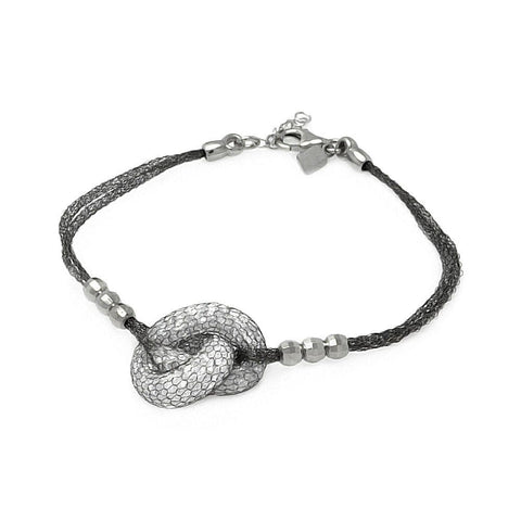 .925 Sterling Silver Black Rhodium Plated 3 Bead Sides Knot Center Italian Bracelet - AnaDx Collection