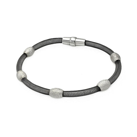 .925 Sterling Silver Black Rhodium Plated Bead Mesh Italian Bracelet - AnaDx Collection