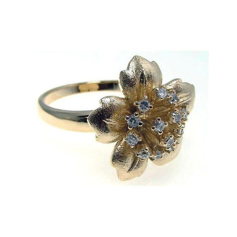.925 Sterling Silver Gold Plated Clear Cubic Zirconia Flower Ring