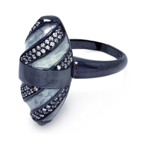 .925 Sterling Silver Black Rhodium Plated High Polish Clear Pave Set Cubic Zirconia Oval Ring - AnaDx Collection