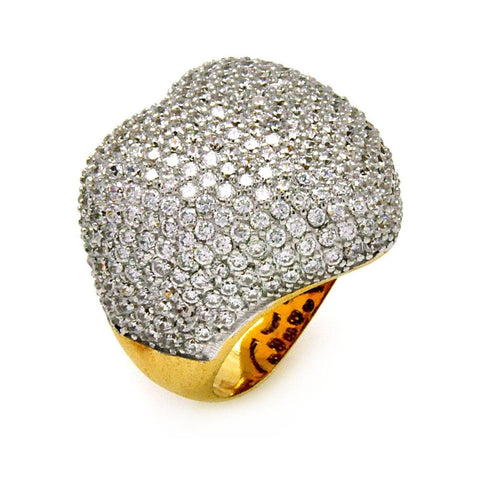 .925 Sterling Silver Gold Plated Pave Set Clear Cubic Zirconia Round Heart Ring