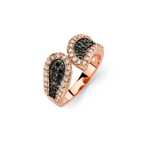 .925 Sterling Silver Black Rhodium Rose Gold Plated 2 Toned Black   Clear Cubic Zirconia Modern Ring - AnaDx Collection