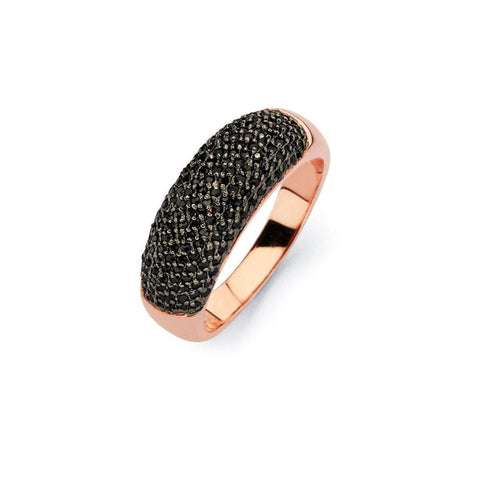 .925 Sterling Silver Black Rhodium Rose Gold Plated Black Micro Pave Set Cubic Zirconia Half Ring - AnaDx Collection
