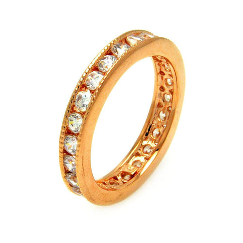 .925 Sterling Silver Gold Plated Clear Channel Set Cubic Zirconia Stackable Eternity Ring