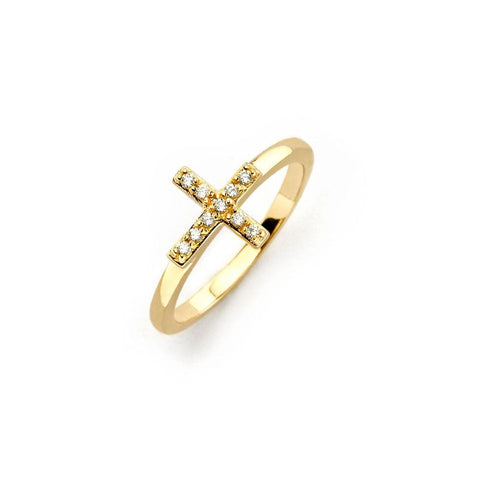 .925 Sterling Silver Gold Plated Clear Cubic Zirconia Mini Cross Ring