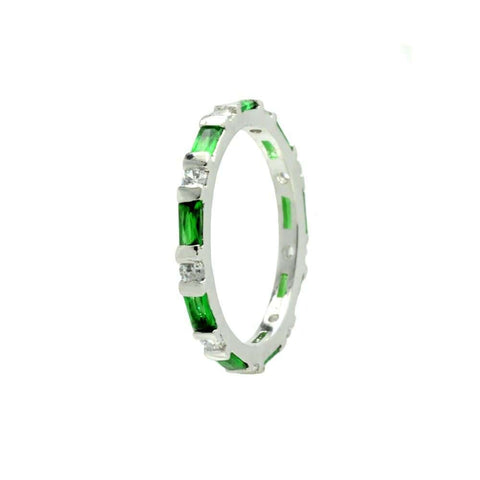 .925 Sterling Silver  Sterling Silver Rhodium Plated Green Cubic Zirconia Stackable Eternity Ring - AnaDx Collection
