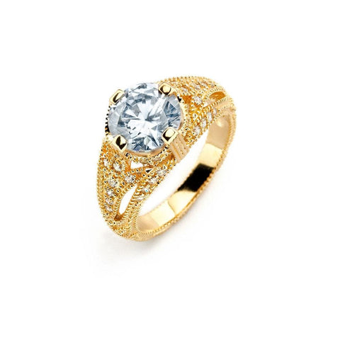 .925 Sterling Silver Gold Plated Clear Center Cubic Zirconia Bridal Ring