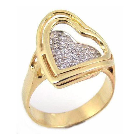.925 Sterling Silver Gold Plated Pave Set Cubic Zirconia Heart Ring