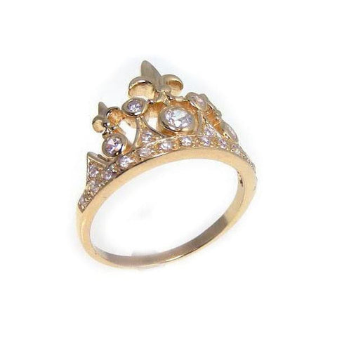 .925 Sterling Silver Gold Plated Cubic Zirconia Tiara Crown Ring
