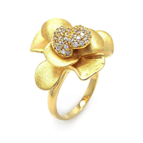.925 Sterling Silver Gold Plated Pave Set Cubic Zirconia Flower Ring