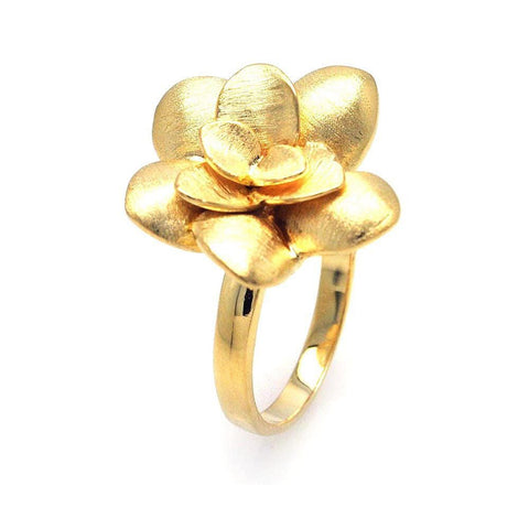 .925 Sterling Silver Gold Plated Flower Ring