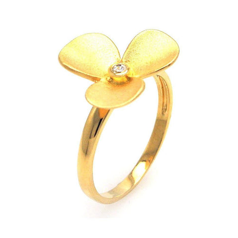 .925 Sterling Silver Gold Plated Cubic Zirconia Flower Ring