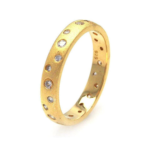 .925 Sterling Silver Gold Plated Cubic Zirconia Eternity Ring